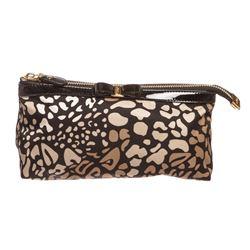 Salvatore Ferragamo Animal Print Nylon Patent Leather Cosmetic Bag