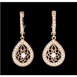 0.60 ctw Diamond Earrings - 14KT Rose Gold