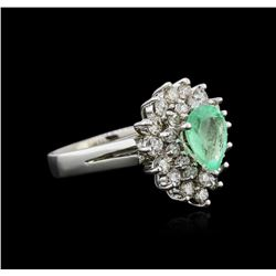 14KT White Gold 1.39 ctw Emerald and Diamond Ring