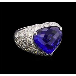 13.10 ctw Sapphire and Diamond Ring - 18KT White Gold