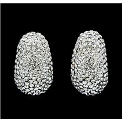 15x25mm Crystal Pave Earrings - Silver Plated