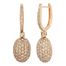 18k Rose Gold 3.76CTW Brown Diamonds Earrings, (SI2-SI3/Gold)