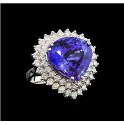 GIA Cert 19.04 ctw Tanzanite and Diamond Ring - 14KT White Gold