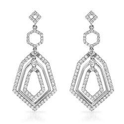 18k White Gold 1.01CTW Diamond Earrings, (SI1-SI3/G-H)