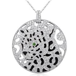 18k White Gold 2.48CTW Diamond and Emerald Pendant, (SI3-I1/H-I)