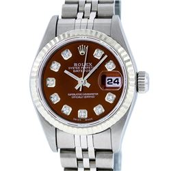 Rolex Ladies Stainless Steel Brown Diamond Quickset Datejust Wristwatch