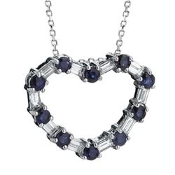 14k White Gold 1.04CTW Blue Sapphire and Diamond Pendant, (VS2-SI1/G-H)