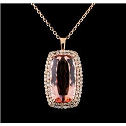 GIA Cert 51.47 ctw Morganite and Diamond Pendant With Chain - 14KT Rose Gold