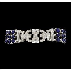 13.65 ctw Sapphire And Diamond Bracelet - 18KT White Gold