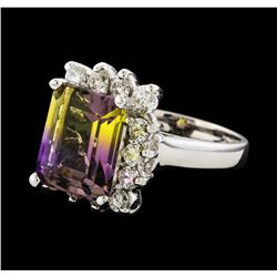 4.48 ctw Ametrine and Diamond Ring - 14KT White Gold