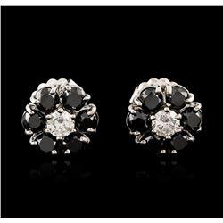 14KT White Gold 3.32 ctw Black and White Diamond Earrings