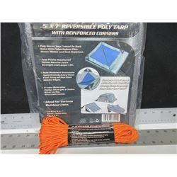 New 5 x 7ft Poly Tarp with 100ft 7 strand 550lb Paracord / excellent for