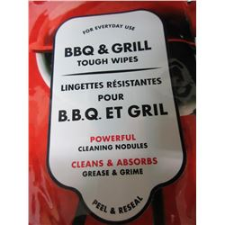 4 New packs BBQ & Grill Tough Wipes / perfect for BBQ lids , sides and more
