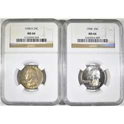 1958 P&D WASHINGTON QUARTERS, NGC MS-66 COLOR