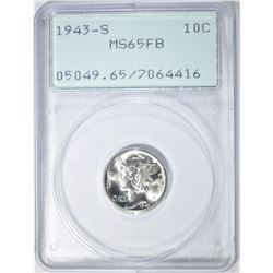 1943-S MERCURY DIME, PCGS MS-65 FB RATTLER HOLDER