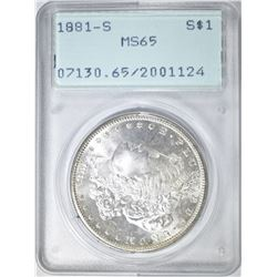 1881-S MORGAN DOLLAR, PCGS MS-65 RATTLER HOLDER