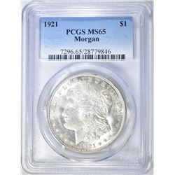1921 MORGAN DOLLAR PCGS MS-65