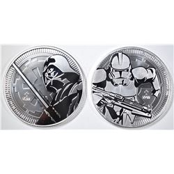 2-NIUE 1oz SILVER STAR WARS COINS