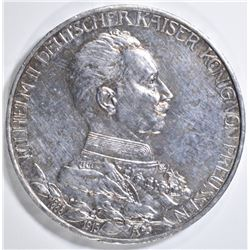 1913 A SILVER 3 MARKS PRUSSIA KAISER WILHELM II