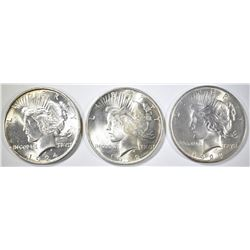 1922, 23, 24 PEACE DOLLARS CH BU