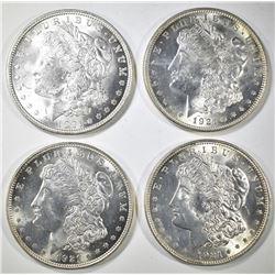 4-BU 1921 MORGAN DOLLARS