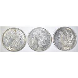 1921-S & 2-1921-D MORGAN DOLLARS, AU/BU