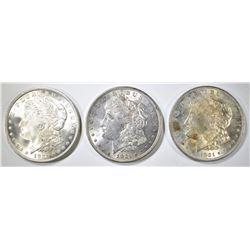 3 1921 MORGAN DOLLARS BU