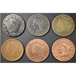 6 LARGE CENTS 1826 AG, 42 & 47 VF, 27 & 32 VG CL,