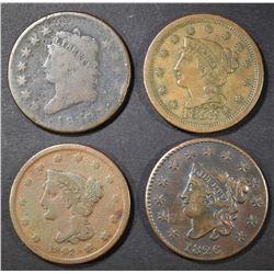 4 LARGE CENTS 1853 XF, 10 AG, 26 VF DAMAGE, 42 F