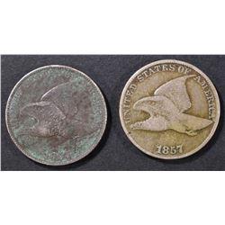 2 1857 FLYING EAGLE CENTS, 1 VG, 1 VF CORROSION