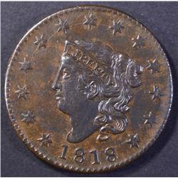 1818 LARGE CENT, CH BU RANDALL HOARD!