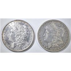1891-O XF & 97 BU CLEANED MORGAN DOLLARS