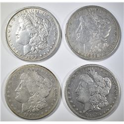 4 CIRC MORGAN DOLLARS 1882, 84-S, 87-O, 88-O.