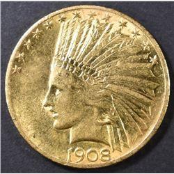 1908 $10 GOLD INDIAN AU/BU