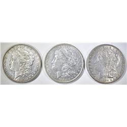1883-O, 84, 87 MORGAN DOLLARS AU
