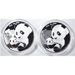 2-2019 CHINESE ONE OUNCE SILVER PANDA COINS