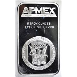 FIVE OUNCE .999 SILVER BAR AMPEX