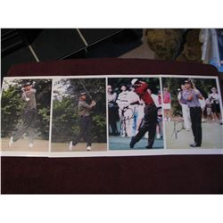 """4 SIGNED TIGER WOODS PICTURES EACH 8"""" X 10"""""""