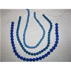 """3 16"""" STRINGS OF BLUE AGATE BEADS"""