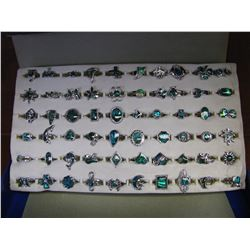 BOX OF 60 NEW PAUA SHELL RINGS