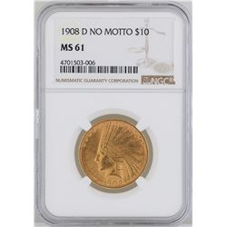 1908-D $10 Indian Head Eagle Gold Coin NGC MS61