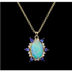 12.73 ctw Opal, Tanzanite and Diamond Pendant With Chain - 14KT Yellow Gold