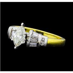 1.01 ctw Diamond Ring - -18KT Yellow Gold and Platinum