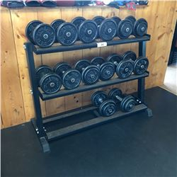 DUMBBELL RACK WITH DUMBBELLS, 20-55 LB WEIGHTS