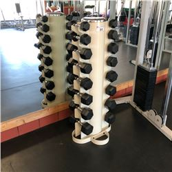 SELF STANDING DUMBBELL RACK WITH WEIGHTS