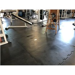ALL RUBBER INTERLOCKING GYM FLOOR MATS DOWNSTAIRS, APPROX. 65 3' X 6' MATS, SOME MATS CUT TO FIT,