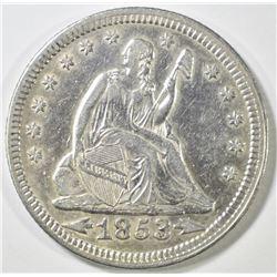 1853 ARROWS & RAYS SEATED LIBERTY QUARTER  AU+