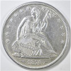 1874 SEATED LIBERTY HALF DOLLAR  CH AU