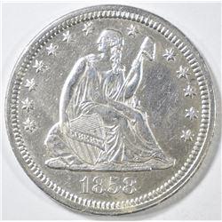 1858 SEATED LIBERTY QUARTER  AU/BU