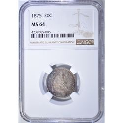 1875 TWENTY CENT NGC MS-64 SEMI-PL SURFACES WITH